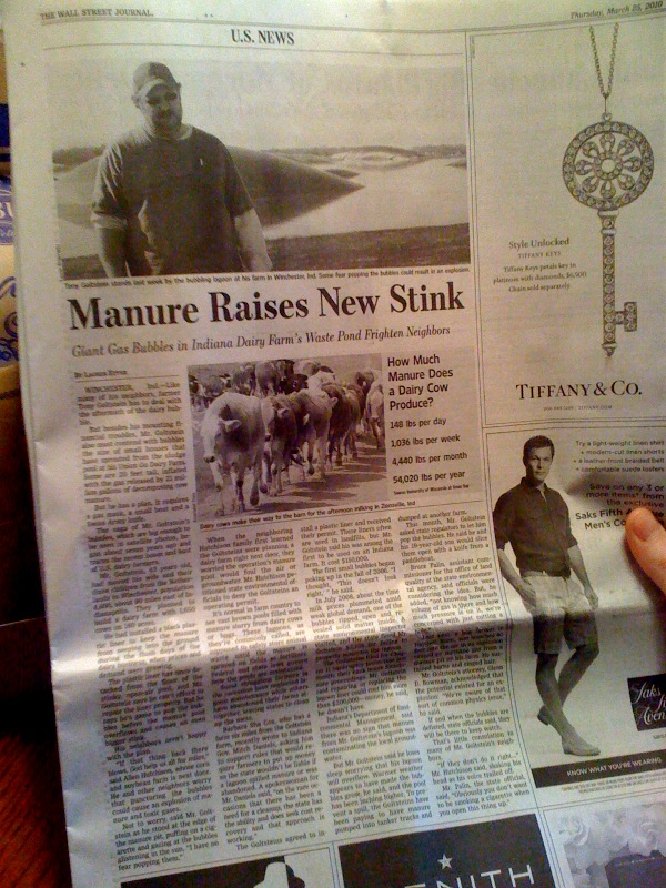 Newspaper article about giant manure gas bubbles