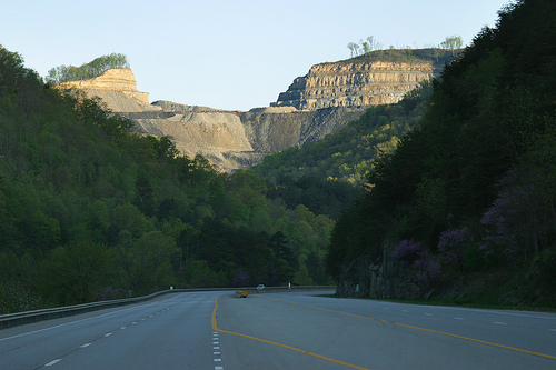 Mountaintop removal mine site above route 23 in Pike County, Kentucky
