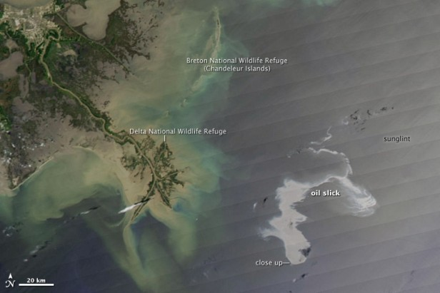 view of oil spill from space