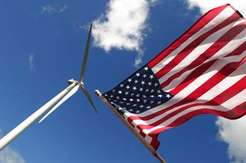 Wind turbine and American flag