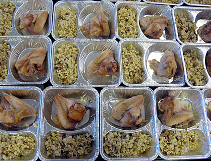 Trays of chicken for school lunches