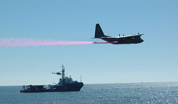 Plane spraying test dispersants