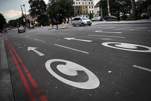 Congestion lanes in London.