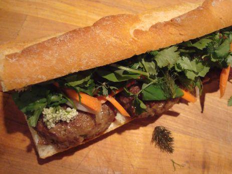 A lemongrass elk meatball sandwich.