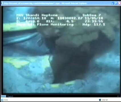 Still from video of oil leak