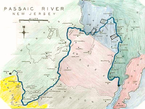 Map of the Passaic River
