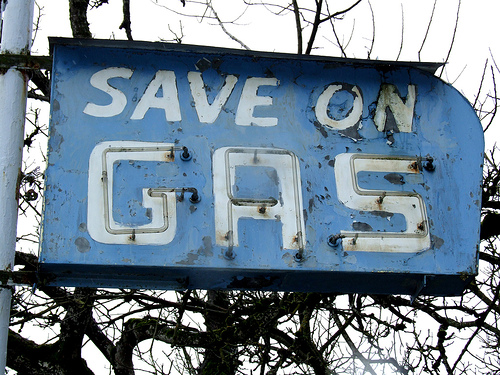 """""""save on gas"""" sign"""