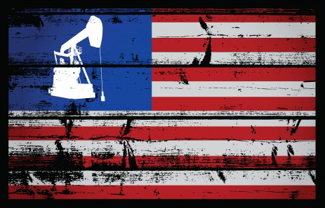oil rig on american flag