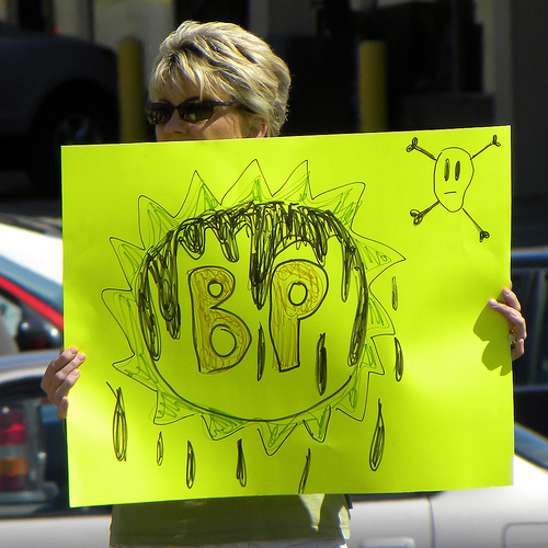 Protester with anti-BP sign