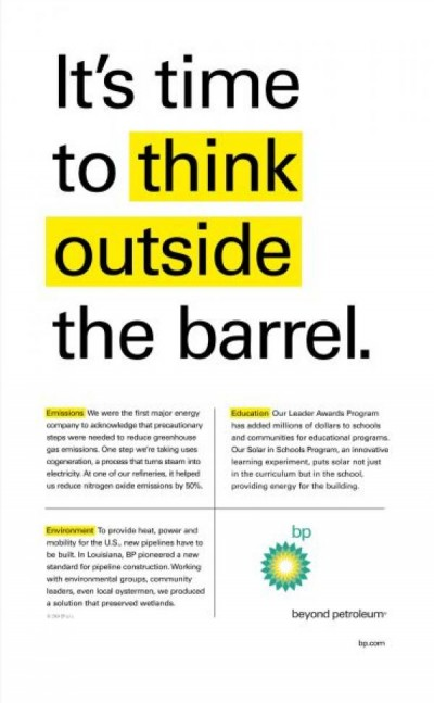 "BP ad: ""Think outside the barrel"""