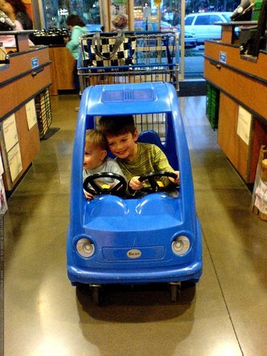 kids in shopping cart