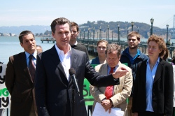 San Francisco's mayor, Gavin Newsom, speaks out against Proposition 23.
