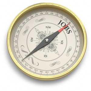 compass needle pointing to word 'jobs'