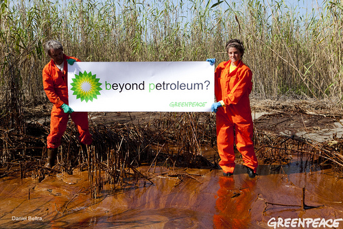 activists with BP sign in sludge