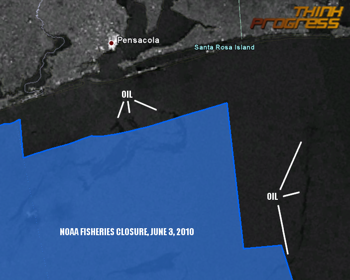 Map created by the Center for American Progress Action Fund from Google Earth, NOAA's June 3, 2010 fisheries closure map and Envisat's June 3, 2010 radar image of the Gulf of Mexico processed by the University of Miami's CSTARS group.