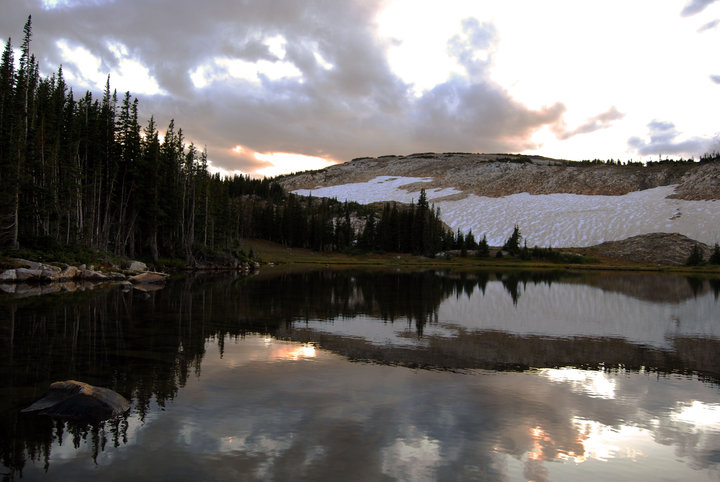 Sunset over a lake in the Snowy Range, Medicine Bow National Forest, Wyo.