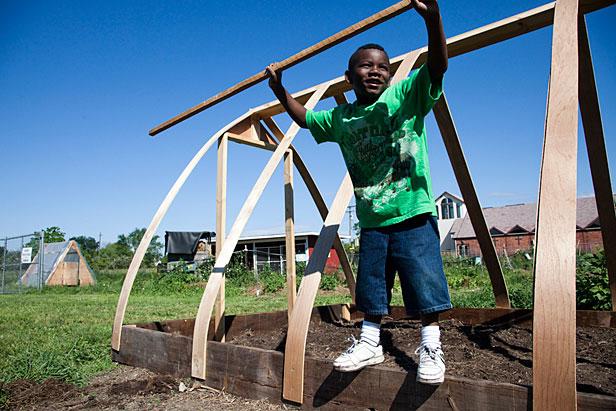 Boy in Detroit farm