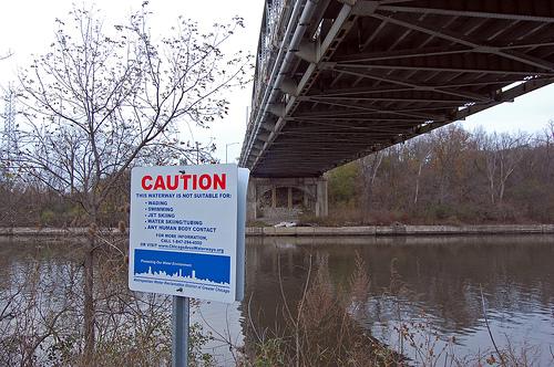 River warning sign