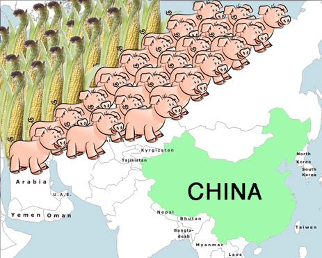 Corn and pigs invade China