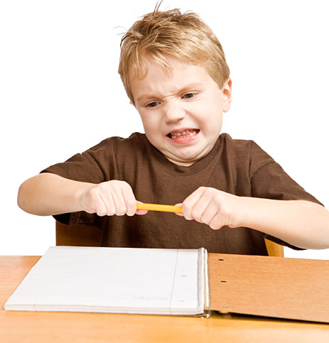 Kid breaking pencil