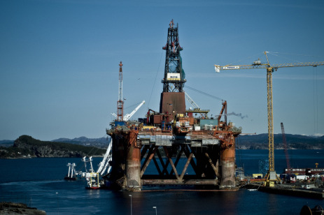 An oil rig off the coast of Norway.