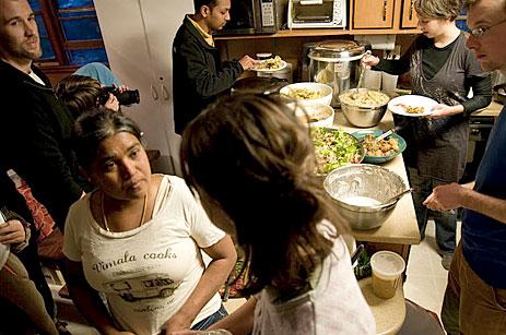 Vimala Rajendran in the kitchen