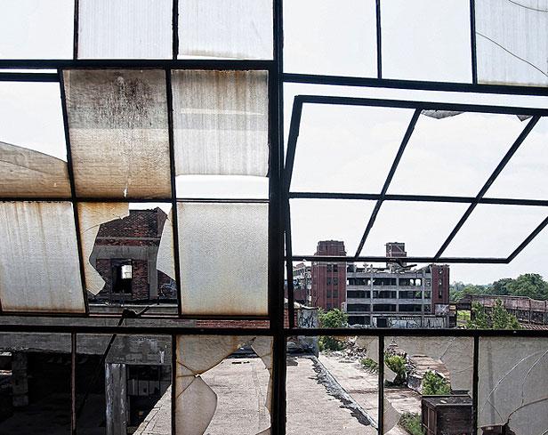 Broken factory windows in Detroit