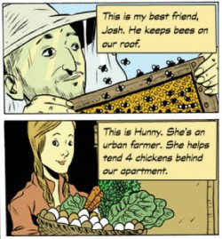 Comic strip on urban farming