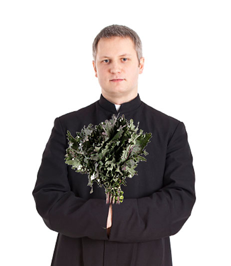 Priest with kale