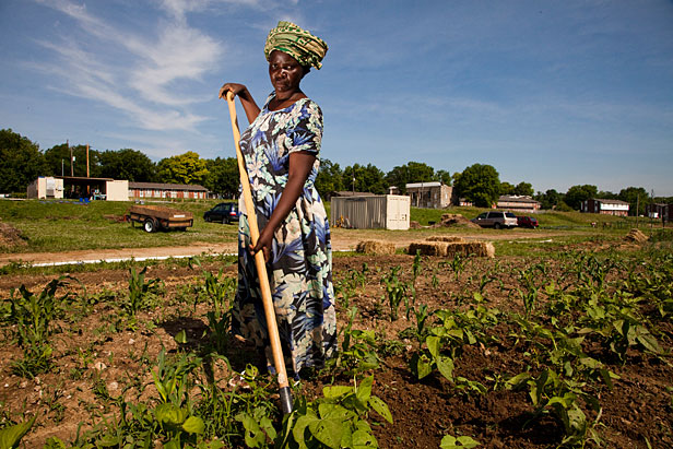Woman farmer at New Roots for Refugees Farm