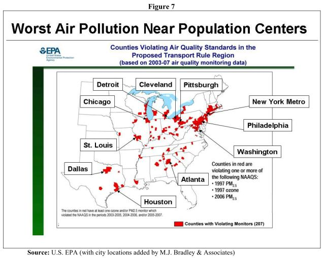 MJ Bradley & Assc: worst air pollution is near population centers