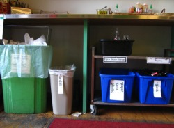 Portland, the object of many a progressive city's jealousy, breaks down waste effectively. Tellingly, the largest (green) bin is for compostables while the smallest (grey) bin heads to the landfill.