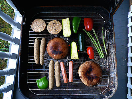 Veggie dogs on the grill