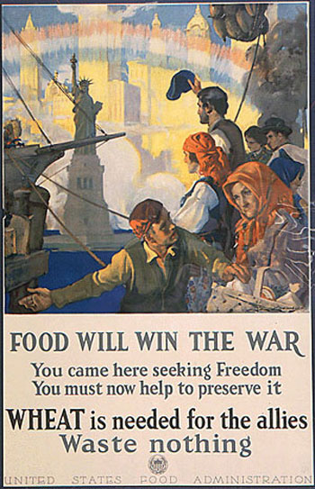 War poster with immigrants