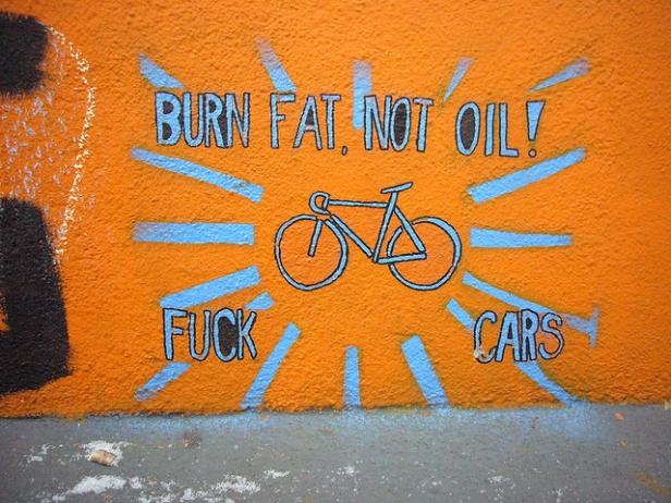 Burn fat not oil bike graffiti