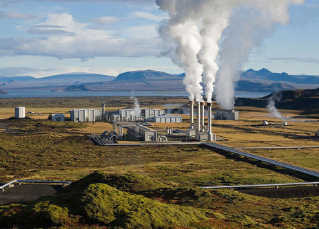 Steam rising from a geothermal power plant in Iceland.