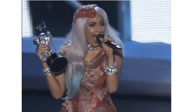 Lady Gaga and her meat dress at Video Music Awards