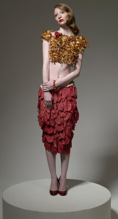 Woman wearing meat.