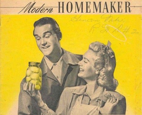 old ad with happy homemaker