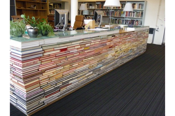 recycled book library information desk close up