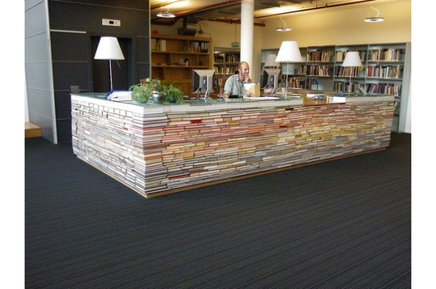 recycled book library information desk