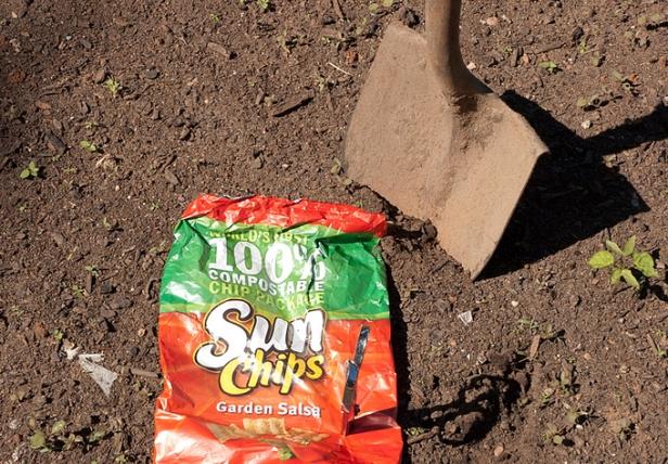 Burying compostable SunChips bag