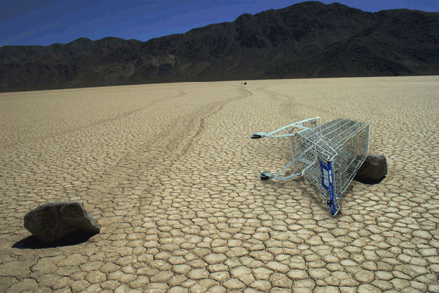Shopping cart in desert