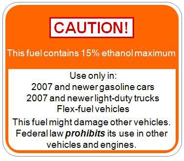 EPA E15 label