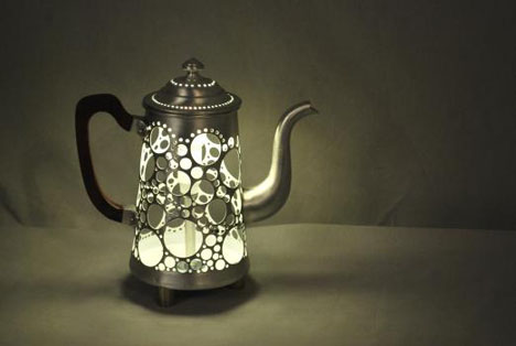 Recycled teapot lamp