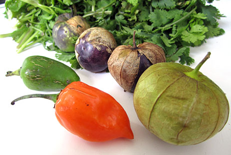 Vegetables and tomatillos