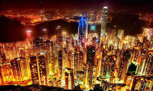 Nighttime skyline of Hong Kong.