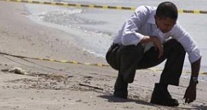 Obama on a beach