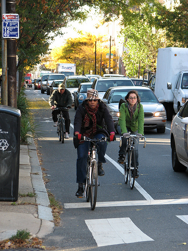 People bicycling in Philadelphia.