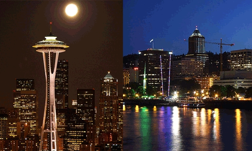 Seattle and Portland skylines